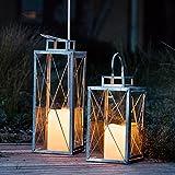 Lights4fun Set di 2 Lanterne in Metallo Zincato con Candele LED per Interni ed Esterni