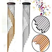 TECHTEST Aluminium Pipes 18 Tube Natures Melody Wind Chimes and Bells with Good Sound (28X16X4 cm, Silver and Gold) - Set of 2
