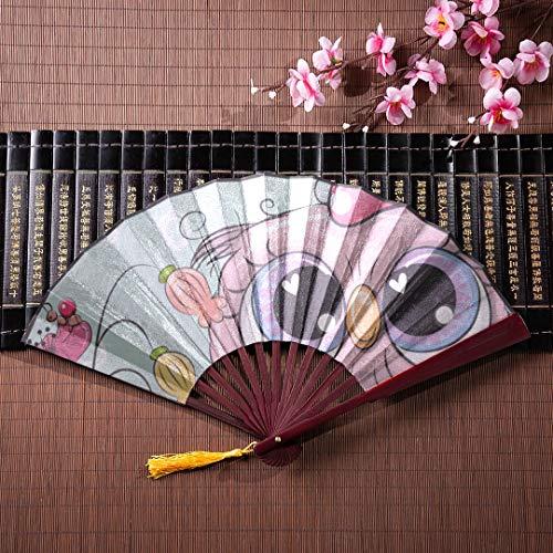 Japanische Fans niedlichen Cartoon-Tier auf Einer Wiese mit Bambusrahmen Quaste Anhänger und Stoffbeutel großen chinesischen Fan Womens Folding Hand Fan Womens Hand Fans