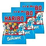 Haribo Schlümpfe, 3er Pack, Gummibärchen, Weingummi, Fruchtgummi, Vegetarisch, Im Beutel, Tüte