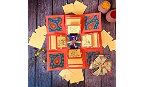 Crack of Dawn Crafts Rakhi Explosion Box Greeting Card - Orange Paisely for Sister