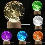 3D Nachtlicht, EgoEra® 3D Tischleuchte Optische LED Täuschung Illusions Lampen Licht, 20 Farben und 6 Modi Farbwechsel Fernbedienung USB Schreibtischlampe Kreative Dekorationen Kinder Geschenk, Erde