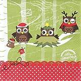 20 Servietten Dressed up owls – Verkleidete Eulen / Weihnachten / Uhu 33x33cm