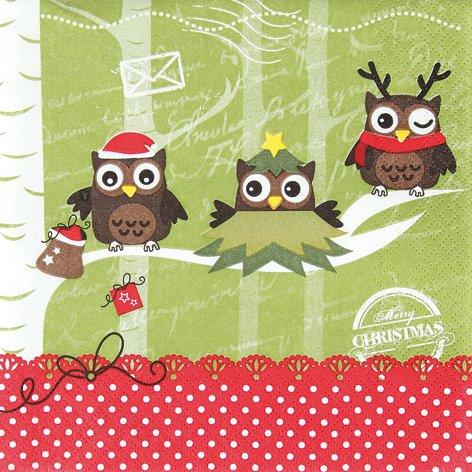 20 Servietten Dressed up owls - Verkleidete Eulen / Weihnachten / Uhu 33x33cm