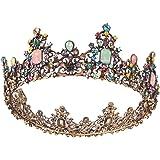 Minkissy corona regina vintage colorato diadema barocco colorato cristallo strass diadema regina principessa spettacolo coron