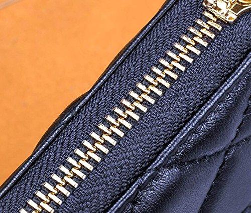 Portafoglio Donna Con Zip Lunga Portafoglio Classico Multifunzione In Pelle Di Pecora Borsa Multifunzione Con Portamonete Blue
