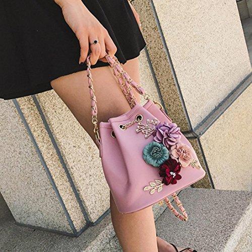 Borsa donne , feiXIANG 2017 Donna nuova moda Applique borsetta Borse borsa borsa Messenger,pu,18cmX12cmX19cm (Blu cielo) Rosa