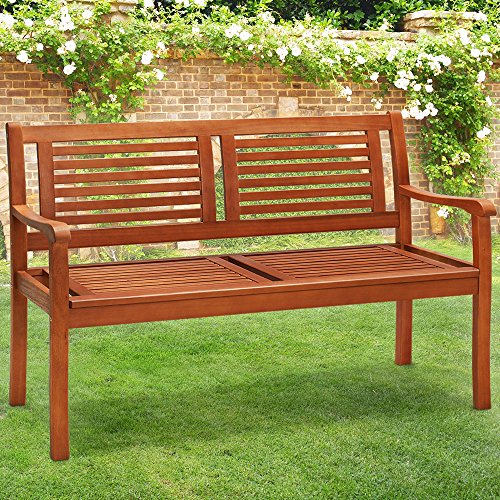 Deuba® Gartenbank Parkbank 2-Sitzer | witterungsbeständiges Eukalyptus Hartholz | ergonomisch | 120 cm | 320 kg Belastbarkeit | langlebig & stabil | Balkonbank Sitzbank Holzbank