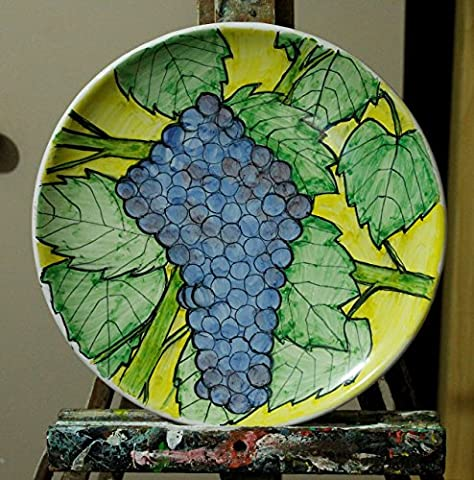 La plaque en céramique émaillée vignoble avec grappe de raisin