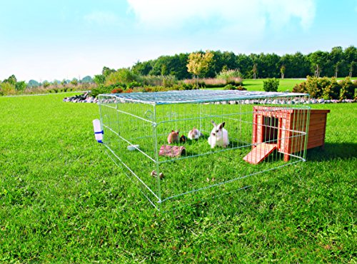 Trixie - Jaula galvanizada con techo para conejos, 144 x 116 x 58 cm