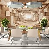 murando - Fototapete 500x280 cm - Vlies Tapete -Moderne Wanddeko - Design Tapete - Abstrakt Tunnel Holz 3D geometrisch a-B-0035-a-b