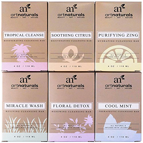 ArtNaturals Natural Soap Bar Gift Set - (6 x 4 Oz / 113g) - Infused with Jojoba Oil - for All Skin Types - Body and Face - Tea Tree, Lavender, Eucalyptus, Lemon, Grapefruit and Orange - Men and Women