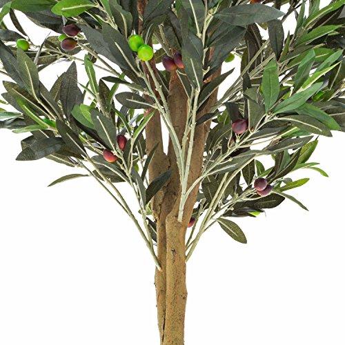 artplants Set 2 x Künstlicher Olivenbaum mit 3970 Blättern, 370 Oliven, Naturstamm, 250 cm – Deko Baum/Künstlicher Baum