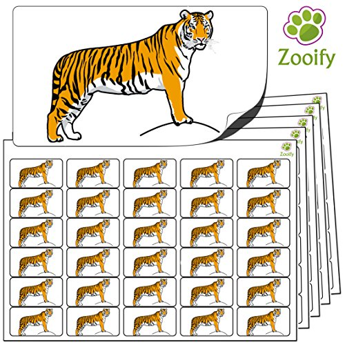 480 x Aufkleber - Tiger (38 x 21 mm). Hochwertige selbstklebende Etiketten mit Tiermotiv von Zooify. Tiger Aufkleber