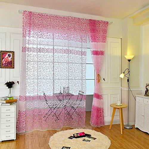 Pinzhi Voile Fenster Floral Drucken Tüll Tür Gardine Paneel Sheer Schal Schürzen (Rosa) (Gardinen, 63 Zoll Länge)