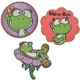 alles-meine.de GmbH 3 tlg. Set: Nici Frosch Mädchen 6,8 cm * 6,8 cm Bügelbild Aufnäher Applikation - Froschmädchen Frösche Blume