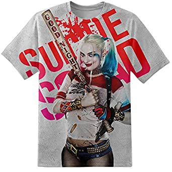 8b71e8df940c Digital Pharaoh Mens Harley Quinn Baseball Bat Pose Suicide Squad  Distressed T Shirt (Small)