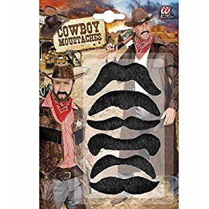 WIDMANN Set of 6 Wild West Moustache aches Fancy Dress Accessory