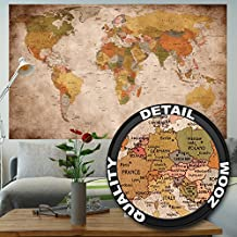 Mapa del mundo para pared, decoración retro, diseño XXL, póster, de Great Art (140 x 100 cm)