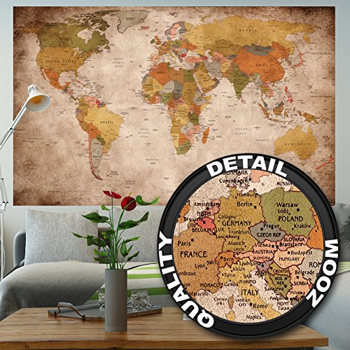 Póster used look– decoración mural Globo continete Atlas mapa mundial retro old school vintage map mundiall Geografia optik usado | foto póster mural imagen deco pared by GREAT ART (140 x 100 cm)