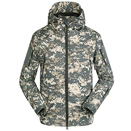 Herren Softshell Jacke Wasserdicht Militaer Taktische Jacke mit Reißverschluss und Kapuze Outdoor...