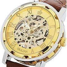 GuTe Reloj mecánico de pulsera, unisex, tipo esqueleto, con diseño steampunk, correa marrón y esfera dorada