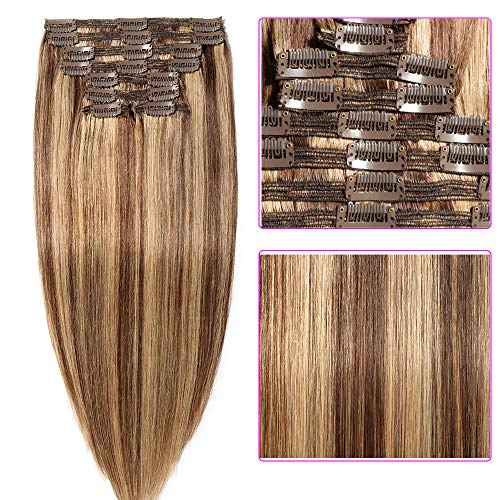 55cm extension capelli veri clip meches double volume tessitura lunga 22