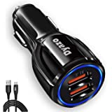 DYAZO 2 Port Fast Car Charger Charging Adapter Compatible for Qualcomm 3.0,Samsung Galaxy, S10 Plus/S10/S20 /S9 Plus/S8/S8 /N