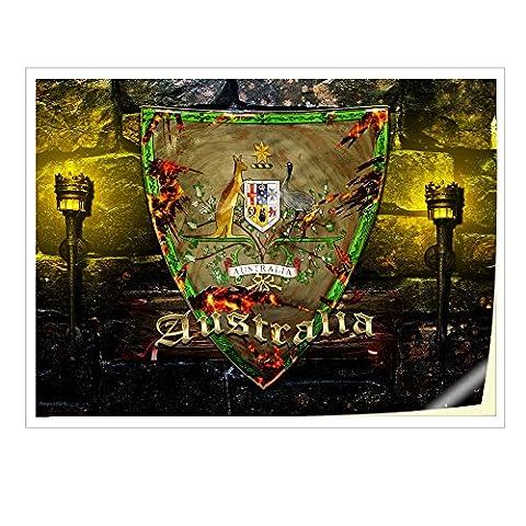 Blason Australie, Autocollant Vinyl Adhésif Dessin Coloré et Effet de Cuir pour les Portable Tactile et Ordinateurs Portables pour Laptop 17