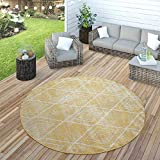 Paco Home Teppich Outdoor Balkon Terrasse Gelb Rauten Muster Skandi Design Robust Weich, Grösse:Ø 200 cm Rund
