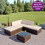 Abreo Rattan Modular Corner Sofa Set Garden Conservatory Furniture 6 Pieces The Lake Como (Brown)
