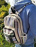 Handgemachter Rucksack / Daypack / Backpack aus natürlichem Hanf mit Laptop-Tasche - UNISEX - MADE IN NEPAL (Blue Stripes) - 6