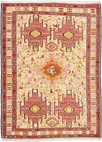 Nain Trading Kelim Soumak Seide 137x104 Orientteppich Teppich Orange/Rosa Handgeknüpft Indien -