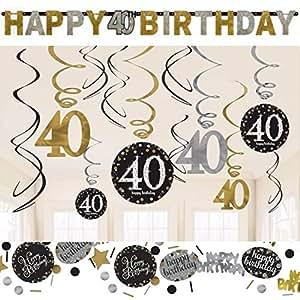 40 geburtstag dekoration deko set 39 sparkling 39 gold silber. Black Bedroom Furniture Sets. Home Design Ideas