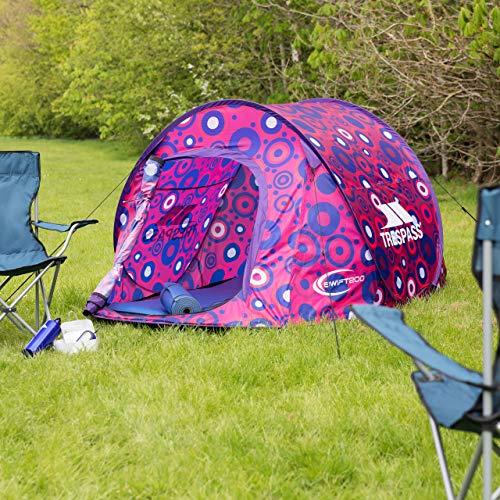 Trespass Swift200 Pattern, Gerbera Circle, Sofortaufbauendes 2 Personen Zelt 245cm x 145cm x 100cm / Wasserdicht / Feuerhemmend, Rosa / Pink
