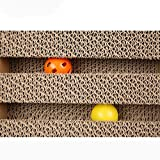 ThreeCat Kratzbaum für Katzen, Katzenspielzeug, Doppelter Verwendungszweck für Katzen, dreieckig, Karton, gewellt, mit Glöckchen