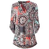 ZHJA 2019 europäischen und amerikanischen Damen Herbst Print V-Ausschnitt Langarm-Shirt Wild Chiffon Shirt