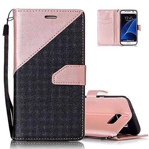 Etui Noir et Or Rose Conception de Coutures Couleur pour Samsung Galaxy S7 5.1