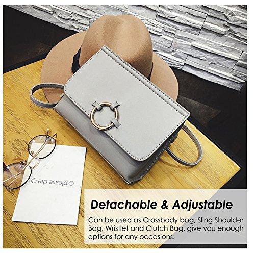 Minimalista Design Crossbody Bag con Cinturino Regolabile (Staccabile), Vegan in Pelle Mini Flap Borsa a Tracolla con Cerchio in Metallo per la Moda Femminile-Nero Grigio