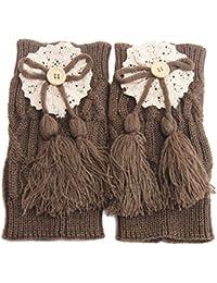 TININNA 1 Par Calentadores de la Pierna Suave Tejer Crochet Leggins Calcetines Medias de Punto de