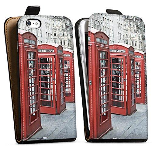 Apple iPhone X Silikon Hülle Case Schutzhülle Rote Telefonzelle England Großbritannien Downflip Tasche schwarz
