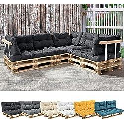[en.casa] 1x cojín de asiento para sofá- palé / para europalé [gris oscuro] cojín In/Outdoor - cojín acolchado - válido para exteriores
