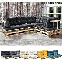 [en.casa] 1x cojín de respaldo para sofá- palé / para europalé [gris oscuro] cojín In/Outdoor - cojín acolchado - válido para exteriores