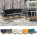 [en.casa] 1x Rückenkissen für Euro-Paletten-Sofa [dunkelgrau] Palettenkissen Auflage In/Outdoor Polster Möbel