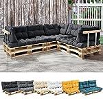 [en.casa] 1x Cuscino schienale per divano paletta euro [grigio scuro] cuscini per palette supporto In/Outdoor mobili imbottiti