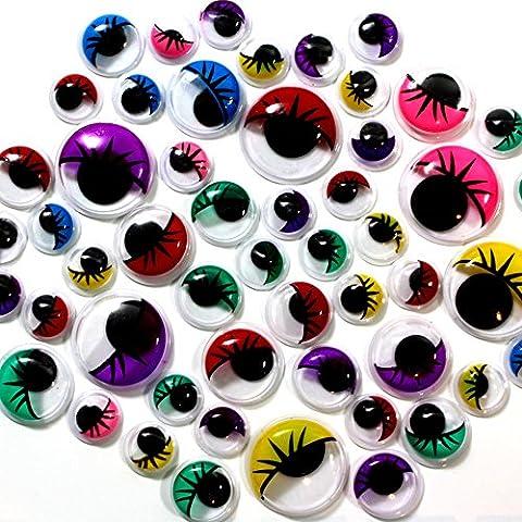 German Trendseller® - 100 x yeux mobiles avec cils┃adhésif┃différentes couleurs et tailles ┃pour bricolage et décoration┃ loisirs créatifs┃100 pcs
