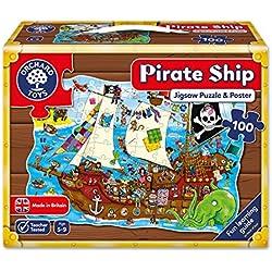 Puzle (100 piezas), diseño de barco pirata.