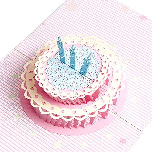 Handgefertigt Pop-Up Happy Birthday Grußkarten, Pop Up 3D Geburtstag Kuchen Geburtstag Karten