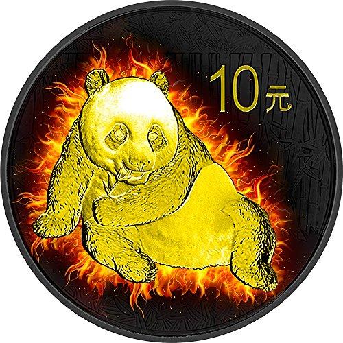 Power Coin Burning Panda Fire Black Ruthenium Gold 1 Oz Silber Münze 10 Yuan China 2015 -