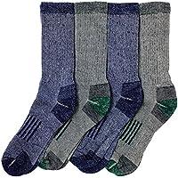 Kirkland Signature Mens Outdoor Trail Socks Merino Wool, Blue & Green (Large) 4 Pairs